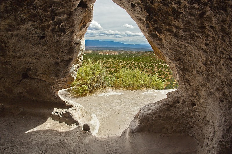 How it looked from the shelter on a nice day. Taken from a dwelling in the Tsankawi section of Bandelier National Monument in New Mexico.<br /> Photo © Carl Clark