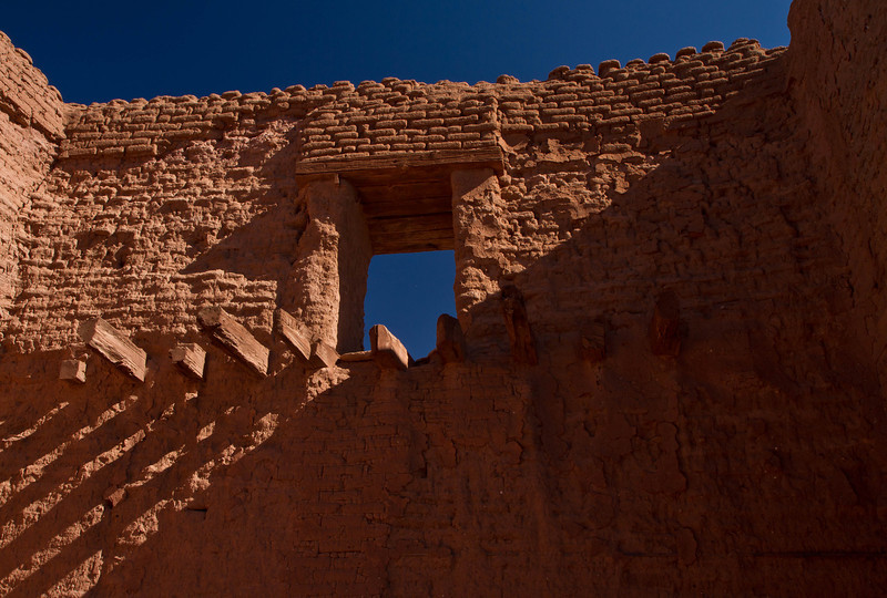 Dramatic shadows on the Spanish mission at Pecos National Historic Park.  These ruins date from 1600s.<br /> Photo © Cindy Clark