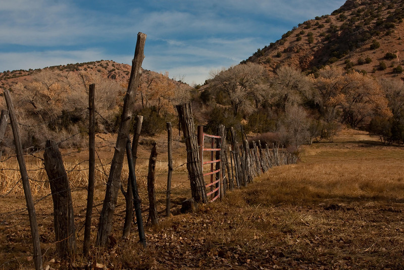 Rustic fence at Chimayo.<br /> Photo © Cindy Clark