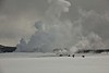 Steam and bison dominate the Yellowstone winter landscape.<br /> Photo © Carl Clark