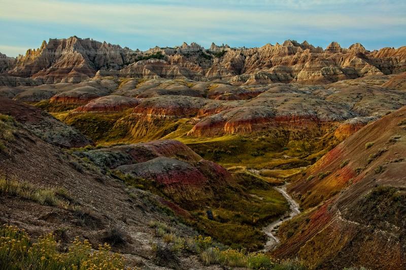 Colorful Badlands in South Dakota.<br /> Photo © Carl Clark
