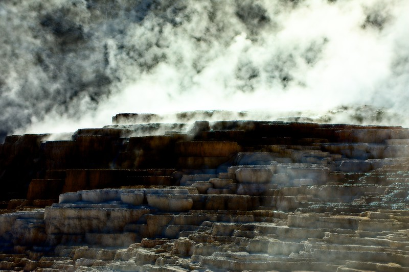 Mammoth Hot Springs in Yellowstone.<br /> Photo © Carl Clark