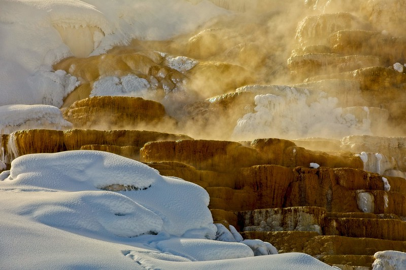 Cold and steam at Mammoth Hot Springs in Yellowstone.<br /> Photo © Carl Clark