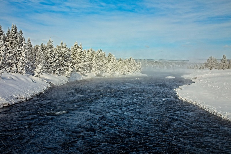 A frigid morning (@ -10°) on the Firehole River in Yellowstone.<br /> Photo © Carl Clark