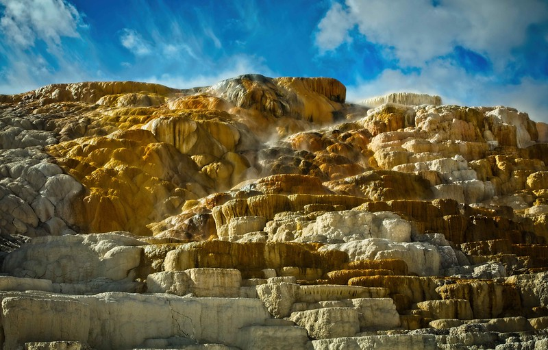 We had picture-perfect skies and light at Mammoth Hot Springs.<br /> Photo © Cindy Clark