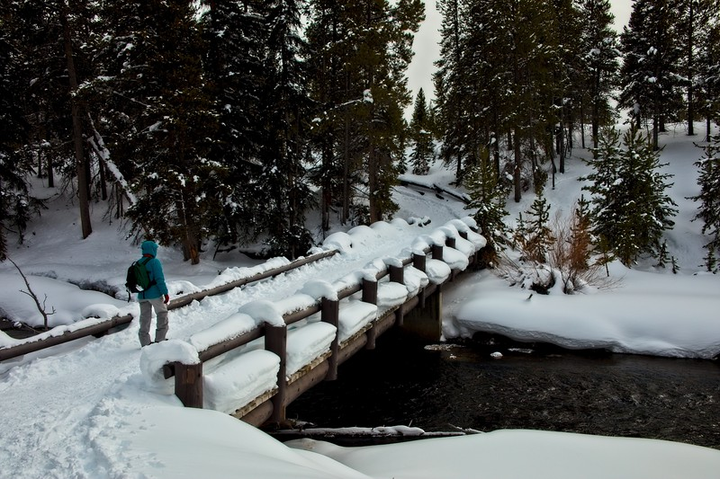 Cindy crossing the Firehole River in Yellowstone.<br /> Photo © Carl Clark