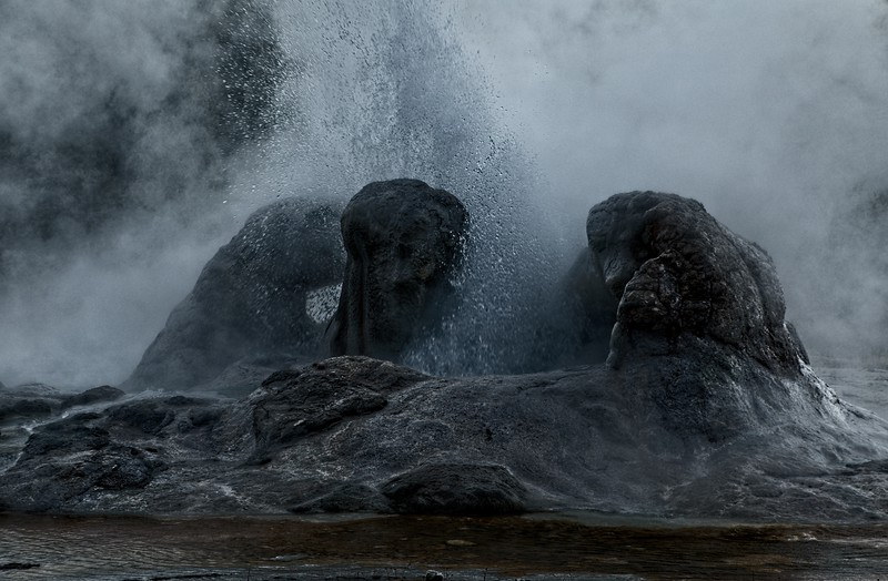 Grotto Geyser in Yellowstone National Park.<br /> Photo © Cindy Clark