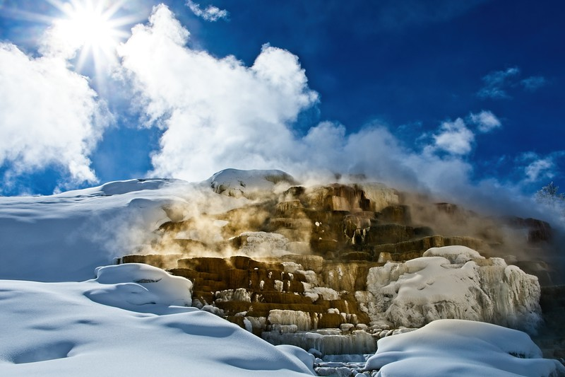 Fabulous lighting effects at Mammoth Hot Springs.<br /> Photo © Cindy Clark