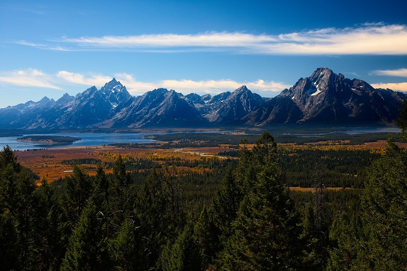 A nice view from the end of the aptly named Grand View Point trail in the Tetons.<br /> Photo © Carl Clark