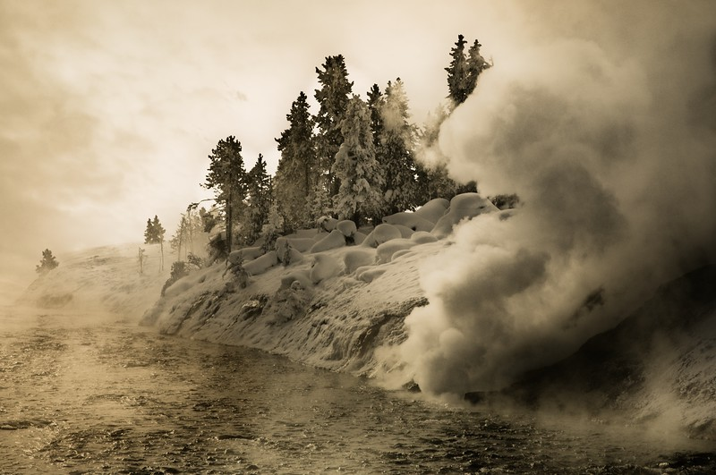 Morning sun turns to gold in the steam along Firehole River, Yellowstone.<br /> Photo © Cindy Clark
