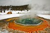 Color, snow and steam at Crested Pool in Yellowstone's Upper Geyser Basin.<br /> Photo © Carl Clark