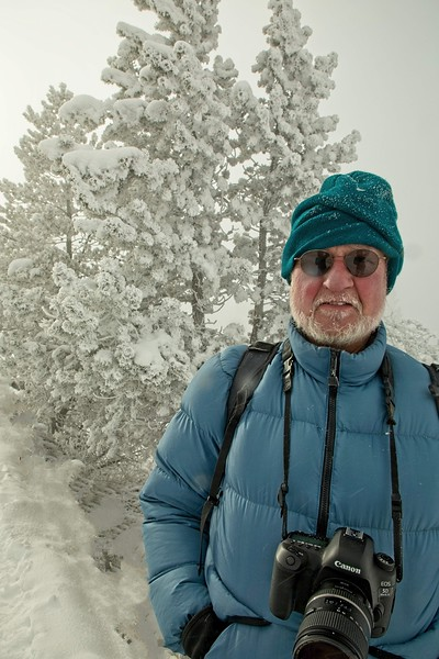 Carl enjoying a chilly morning at -30°F in Yellowstone.<br /> Photo © Cindy Clark
