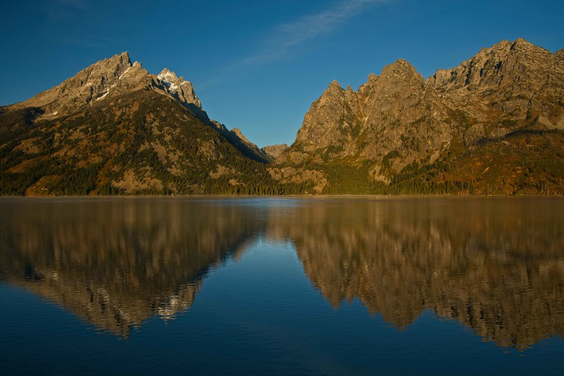 Jenny Lake shows off the color of the Tetons.<br /> Photo © Carl Clark