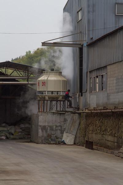 Man having break next to Water Boiler