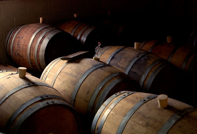 Oak wine barrels, Hudson Valley, NY - c.1986