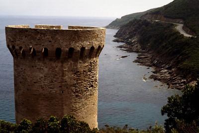 Stone tower, coast, Cap Corse, Corsica, France. 1983.