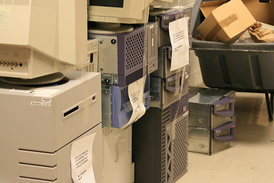 This is the garbage pile at my work... Believe it or not this is a VERY small one.. there have been piles out there of TONS of hardware i'd love to have.. I can't believe they throw this stuff away.