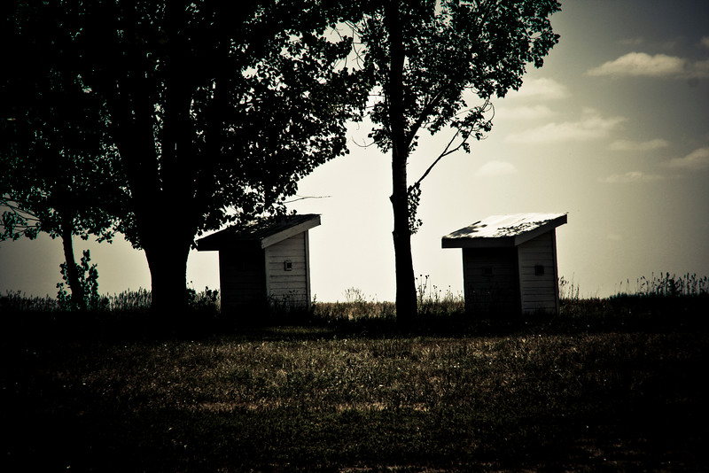 Outhouses.
