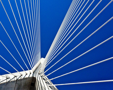 Zakim South Tower - Looking up at the south tower of the Zakim Bridge in Boston, one of the widest cable-stayed bridges in the world.