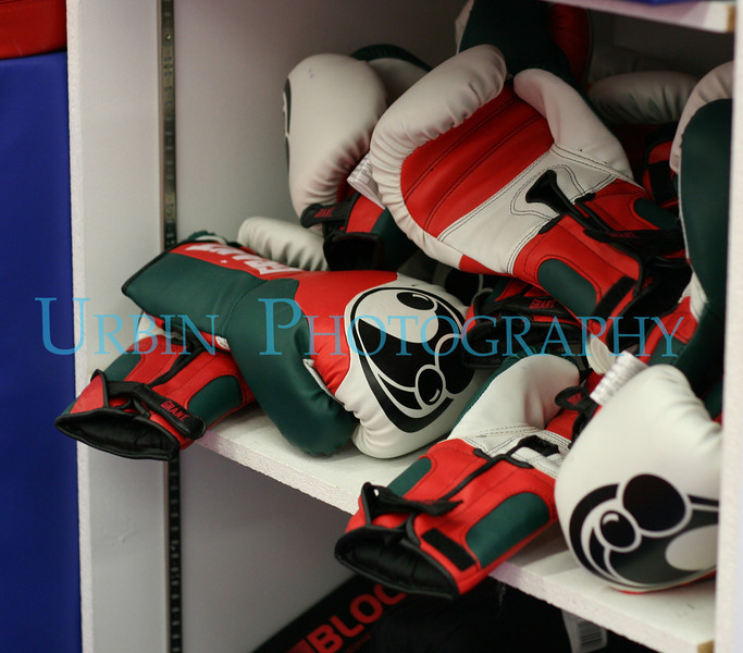 Some brightly colored bag gloves at MetroWest Martial Arts and Wellness.