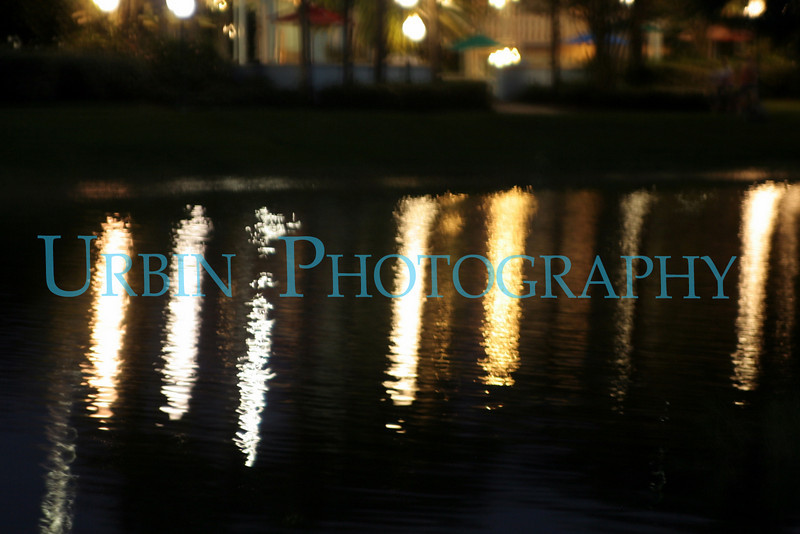 Lights reflected on the water.