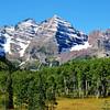Maroon Bells before the Aspen trees turn near Aspen Colorado