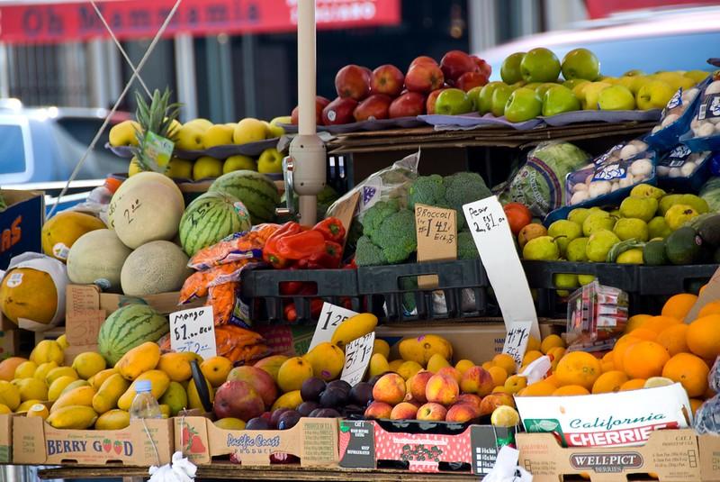 Vegetable stand in Manhattan.
