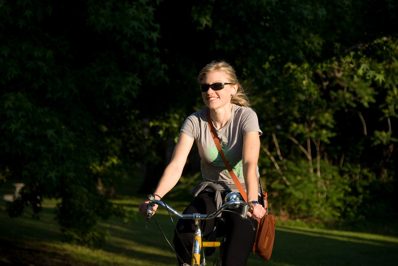 Amanda on the bike path in Maple Ridge.  On our way to enjoy an outdoor concert in downtown Tulsa.
