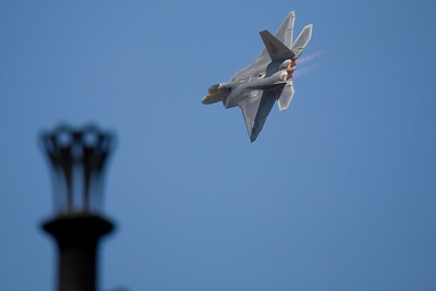 F-22 and stack of the Belle of Louisville