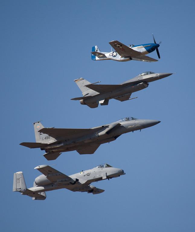 Heritage Flight P-51, F-16, F-15, A-10