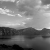 A little more conventional today with a peaceful Crater Lake BW pic. <br /> Thank you for your comments, it was done with PS, stylized glowing edges.