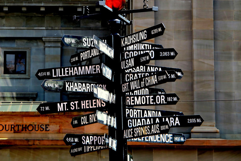 Directions.....It's Monday...some days seem like you need to figure out which way to go..family coming in on Wednesday...busy week. Love these signs..can't wait to go exploring.<br /> Taken in downtown Portland.<br /> Happy Monday!