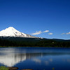 Mt Hood looking gorgeous against the vivid blues of the sky and Trillium Lake..