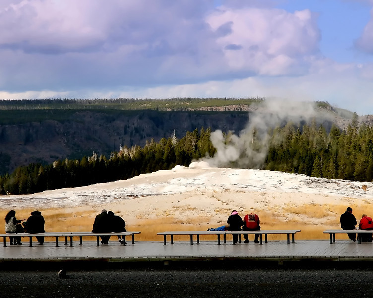 Waiting for Old faithful!<br /> 4 couples sit watching and waiting for Old Faithful..some days are like that watching & waiting..<br /> Crazy day today, got stuck on a closed freeway for 45 minutes...finally got home.