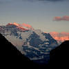Here's one of the Swiss Alps I caught just before sunset. I love the pinkish orange on the top and side of the peaks.