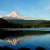 Mt Hood reflected in Trillium Lake mid October near sunset.
