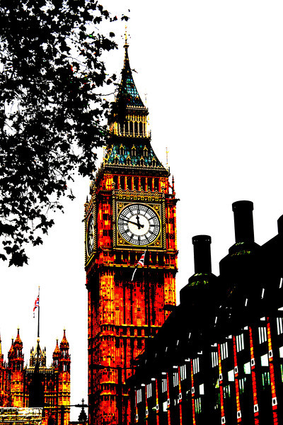 Iconic London.<br /> In London on the Thames looking down the street at Big Ben and Parliament.