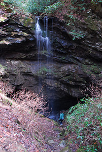 12/18/12  Waterfall in Whiteoak Sink  This small waterfall pours into a cave below.  That is my daughter hiking down to see the cave entrance.  Whiteoak Sink has several caves and all runoff from rains and melting snow leaves the 1600 acres of the sink hole through the cave system.  Great Smoky Mountains National Park