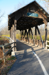 """12/02/12  Take a Hike! or Ride a Bike!  This covered bridge over Lytle Creek on the Luther Warren Peace Path was built by Eagle Scout Jonah Hein and named """"The Nathan S. Hale, M.D. Bridge"""" in honor of the local naturalist.  The 1.2 mile trail follows an old railroad bed and is paved, accessible to the handicapped."""