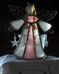 12/06/12  Angel with Stars  this stained glass angel is a tea light holder
