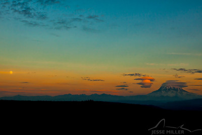 Moon and Mt. Rainier: Puyallup, Washington