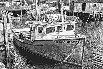 Peggys_Cove_Harbor_Mist_shrimp-boat_B&W_Topaz-