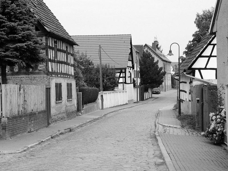 2005-09-10_06217 alte Fachwerkhäuser in Profen old half-timbered houses in Profen