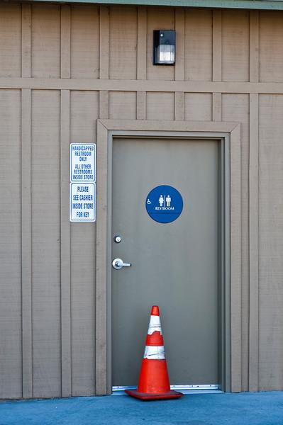 Guarding a restroom in Lone Pine, CA