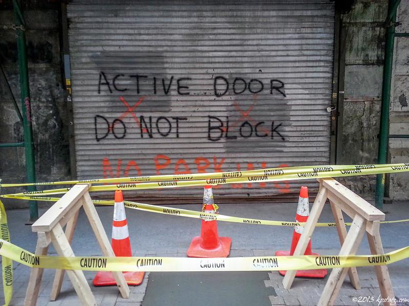 Blocking an active door, NYC
