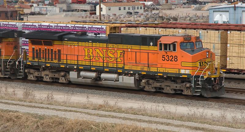 BNSF 5328, a GE Dash 9, leads an intermodal train into the BNSF Argentine Yard in Kansas City Kansas.