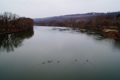 Overlooking the Juniata river on the Mifflin County Veterans Memorial Bridge.