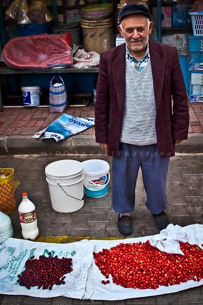 Ahmet Dogar at the market in Korkuteli