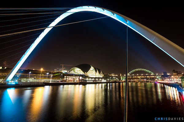 The Tyne River shot from the Millenium Gateshead Bridge