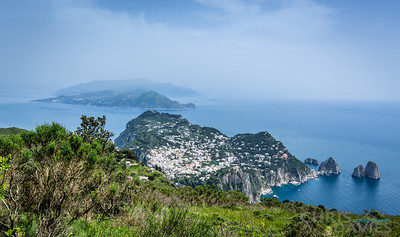 Looking back over Capri towards Sorrento and Amalfi